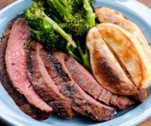 Grilled Flank Steak With Pecans/Black Beans